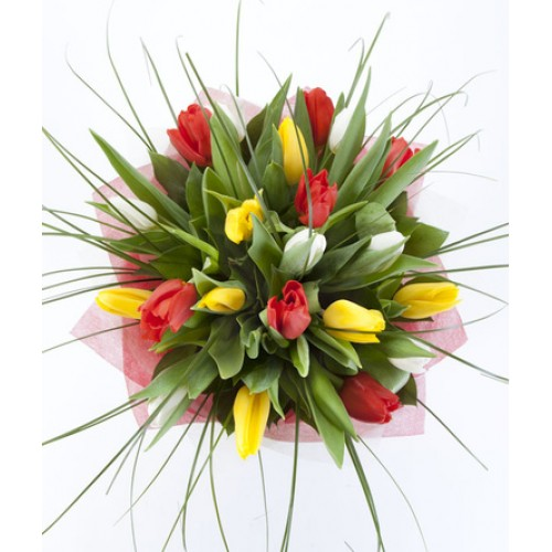 Букет из тюльпанов с берграсом 15 штук