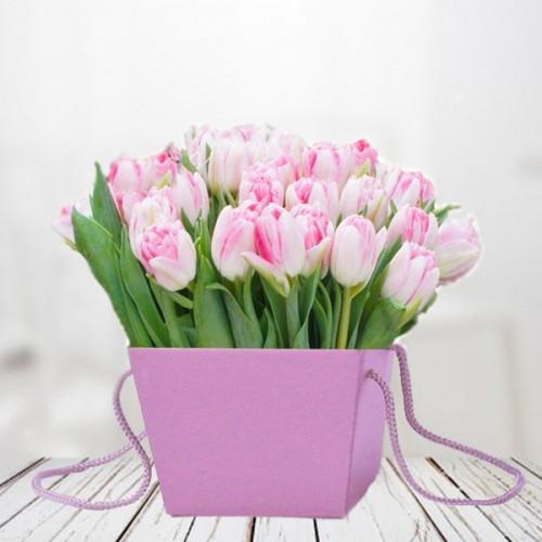 Тюльпаны из 25 штук в сумке-кашпо
