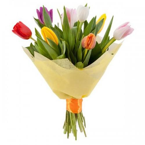 Букет из тюльпанов в фетре 9 штук